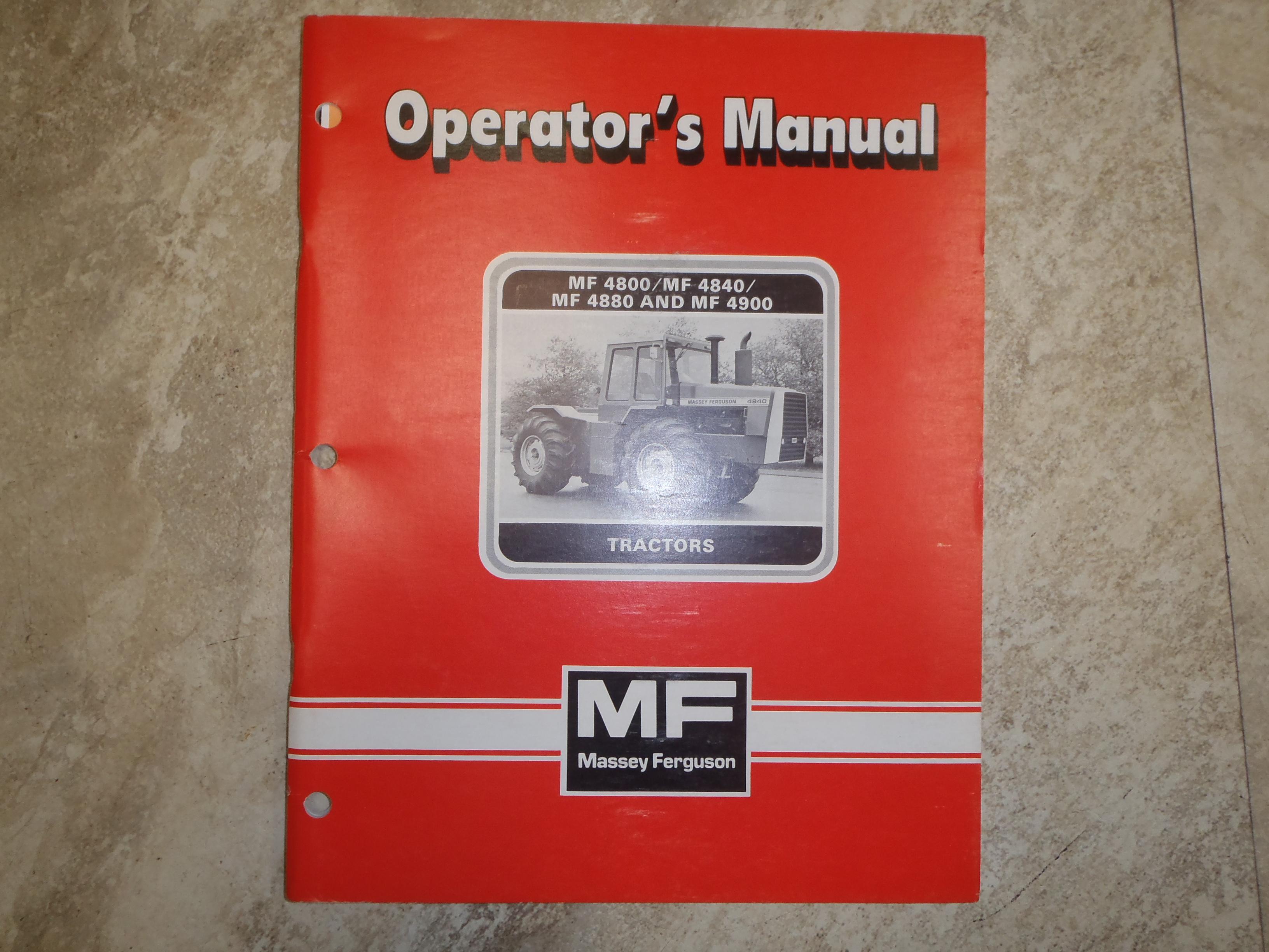 Massey Ferguson 4800/ 4840/ 4880/ 4900 Tractor Operators Manual